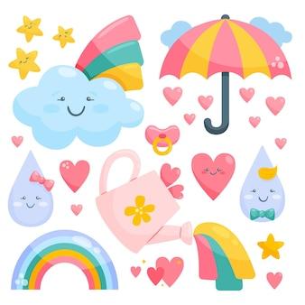 Organische platte chuva de amor decoratie-elementen