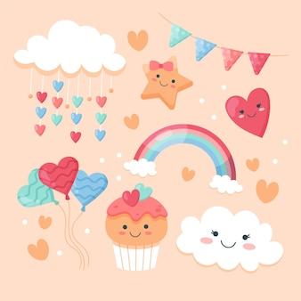 Organische platte chuva de amor decoratie-elementenset