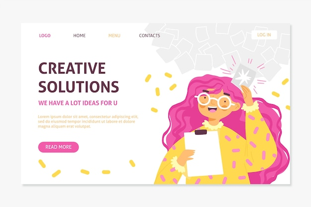 Organische platte creatieve oplossingen websjabloon