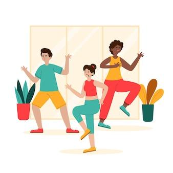 Organische platte dans fitness klasse illustratie met mensen Gratis Vector