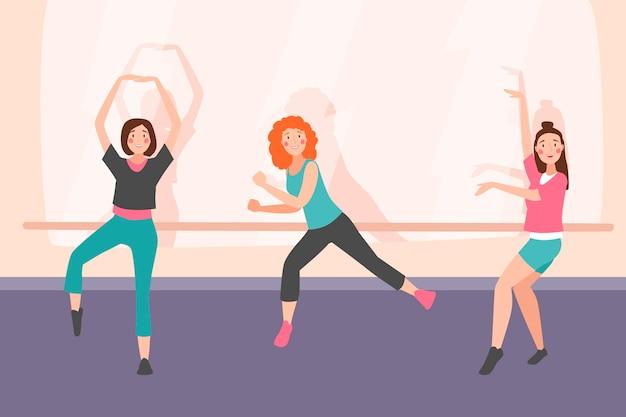 Organische platte dans fitness klasse illustratie met mensen