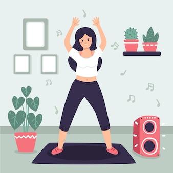 Organische platte dansfitness thuis illustratie met mensen