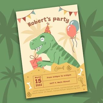 Organische platte dinosaurus verjaardag uitnodiging sjabloon