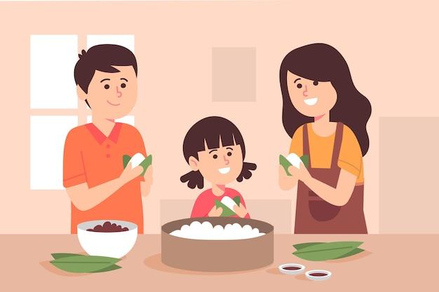 Organische platte drakenbootfamilie die en zongzi-illustratie voorbereiden