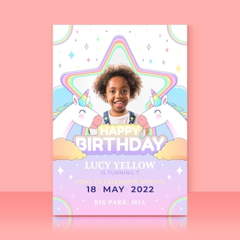 Organische platte eenhoorn verjaardagsuitnodiging