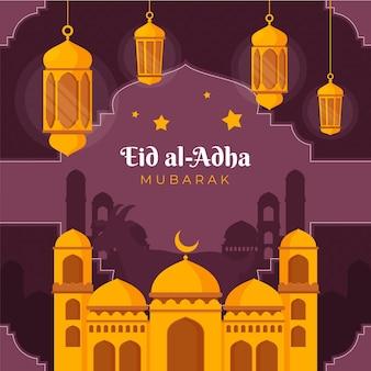 Organische platte eid al-adha illustratie
