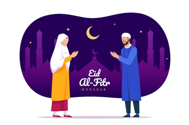 Organische platte eid al-fitr - eid mubarak-illustratie