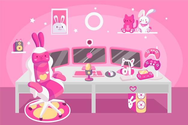 Organische platte gamer kamer illustratie