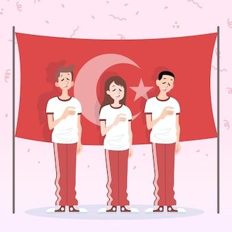 Organische platte herdenking van ataturk, jeugd en sportdag illustratie