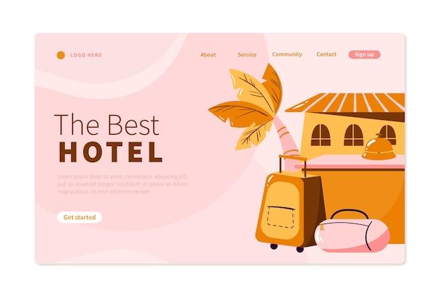 Organische platte hotel bestemmingspagina sjabloon