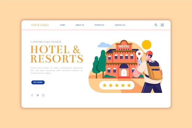 Organische platte hotellandingspagina met illustraties