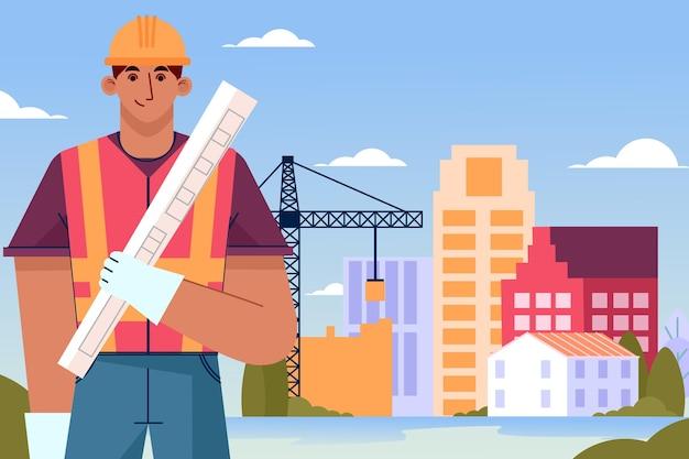 Organische platte ingenieurs die aan de bouw werken