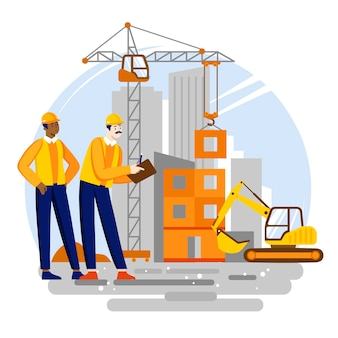Organische platte ingenieurs die aan de illustratie van de bouwplaats werken