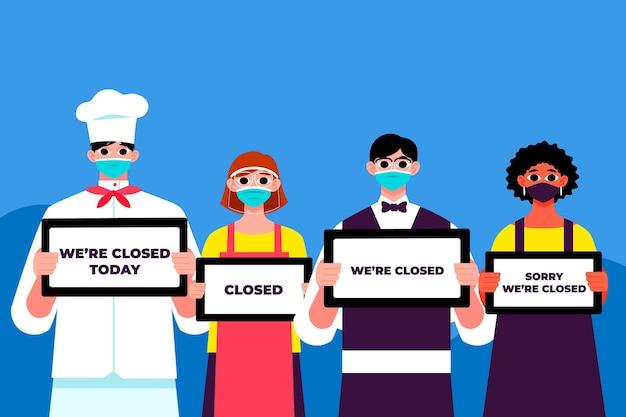 Organische platte mensen die een gesloten uithangbord hangen