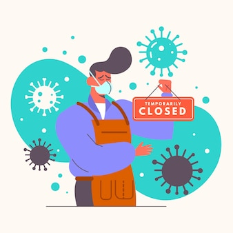 Organische platte mensen die een gesloten uithangbordillustratie hangen vanwege coronavirus