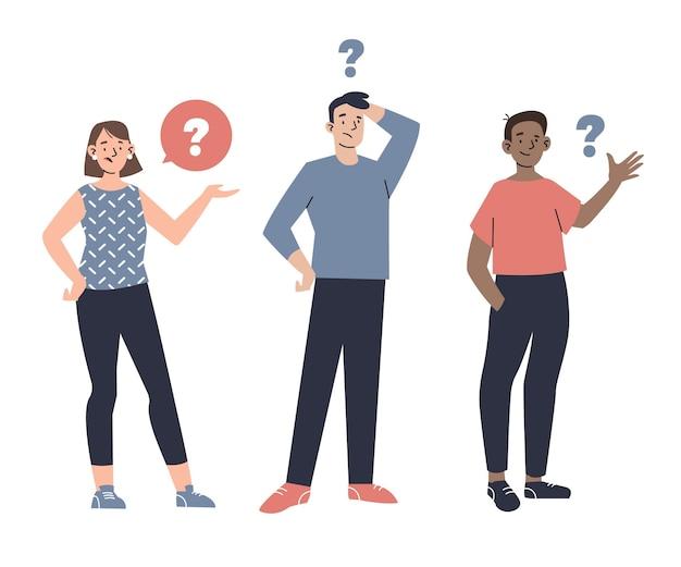 Organische platte mensen die vragen stellen
