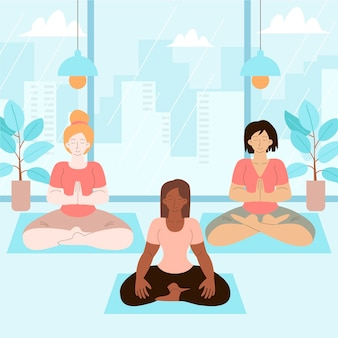 Organische platte mensen die vredig mediteren