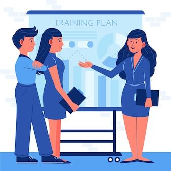 Organische platte mensen op zakelijke training illustratie Premium Vector