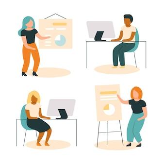 Organische platte mensen op zakelijke training illustratie Gratis Vector