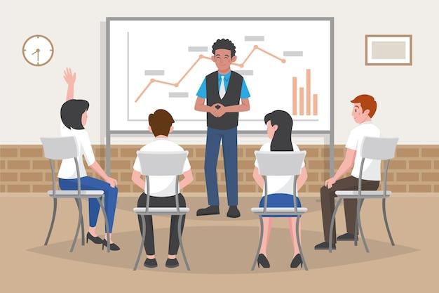 Organische platte mensen op zakelijke training illustratie