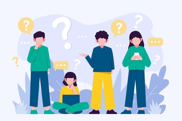 Organische platte mensen stellen vragen