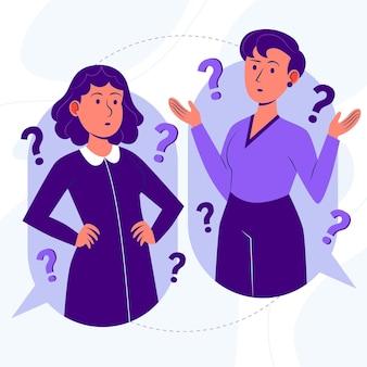 Organische platte mensen vragen illustratie