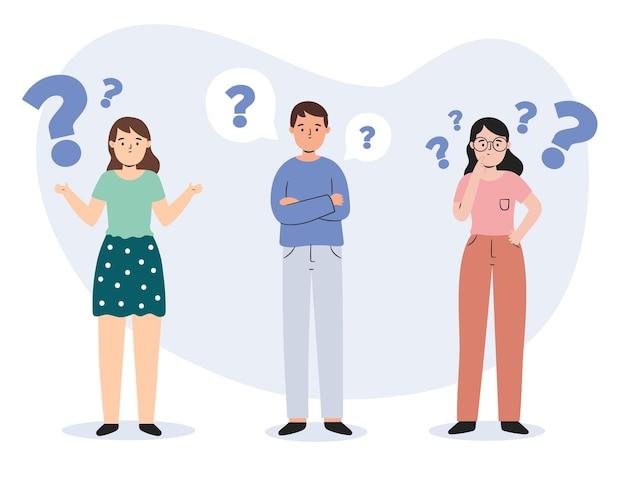Organische platte mensengroep die vragen stelt