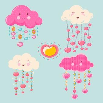 Organische platte mooie chuva de amor decoratie-elementcollectie