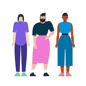 Organische platte niet-binaire mensen illustratie