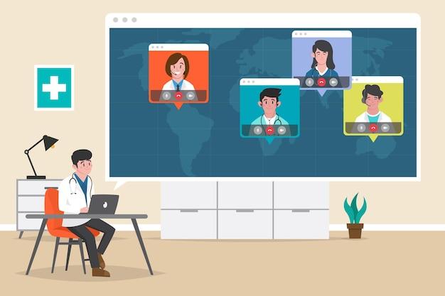Organische platte online medische conferentie illustratie