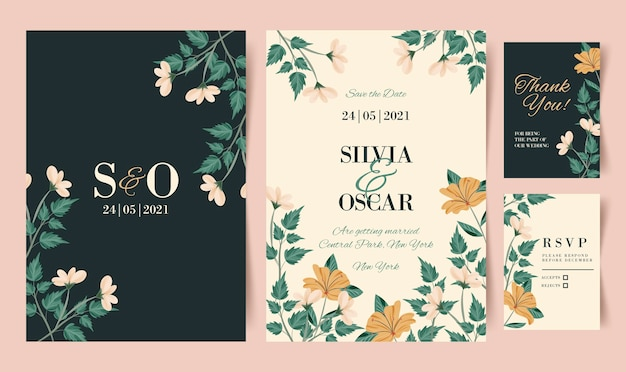 Organische platte ontwerp bruiloft uitnodiging