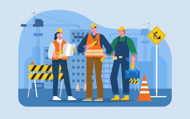 Organische platte ontwerpingenieurs die aan de bouw werken