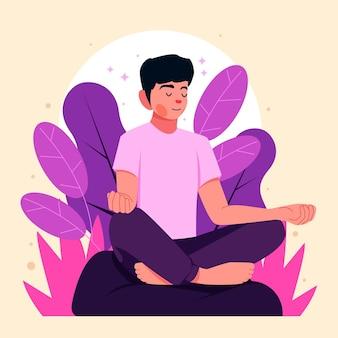 Organische platte persoon die vredig mediteert