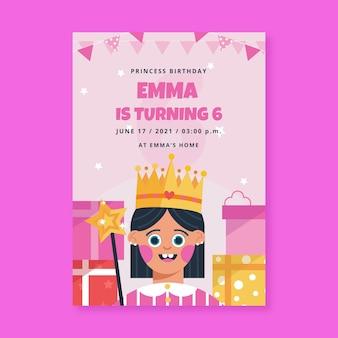 Organische platte prinses verjaardagsuitnodiging sjabloon