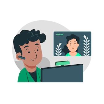 Organische platte telewerken illustratie met mensen