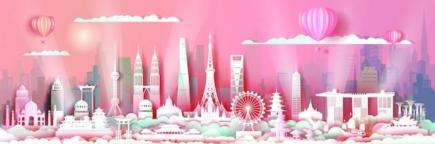 Oriëntatiepunten azië met de architectuurhorizon van de binnenstad