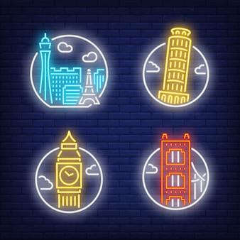 Oriëntatiepunten neon teken set. las vegas, londen