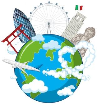 Oriëntatiepunten op wereldbol met vliegtuig