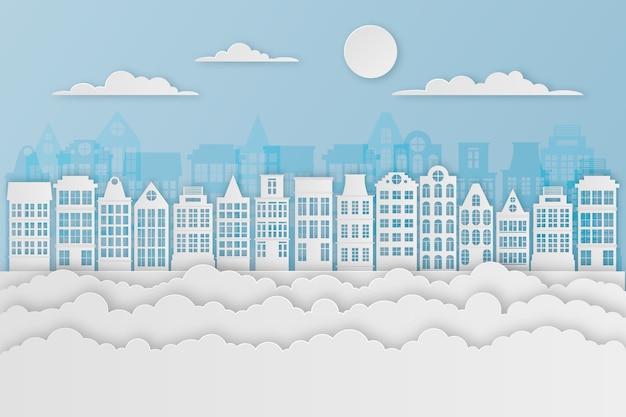 Oriëntatiepunten skyline in papieren ontwerp