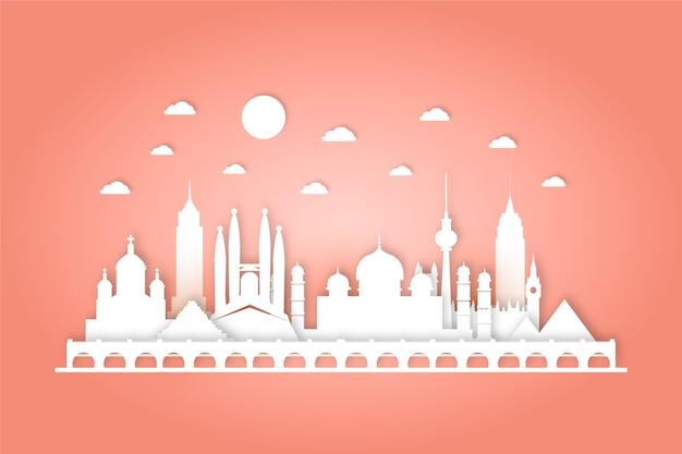 Oriëntatiepunten skyline in papieren stijl ontwerp
