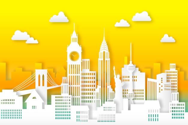 Oriëntatiepunten skyline ontwerp in papierstijl