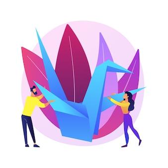 Origami abstract concept illustratie. kunst van het vouwen van papier, mentale oefening, ontwikkeling van fijne motoriek, nuttig tijdverdrijf, video-tutorial.
