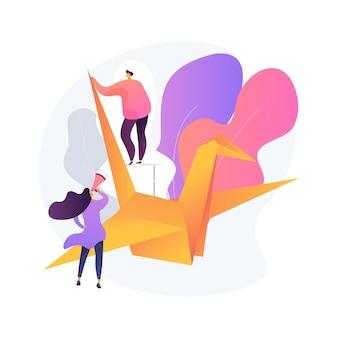 Origami abstract concept vectorillustratie. kunst van het vouwen van papier, mentale oefening, ontwikkeling van fijne motoriek, nuttig tijdverdrijf in sociaal isolement, hoe video-tutorial abstracte metafoor.