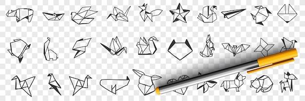 Origami decoratieve papieren doodle set illustratie