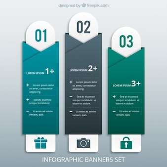 Origami infographic banners