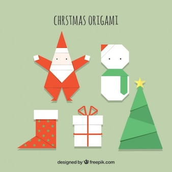 Origami kerstmis icons set