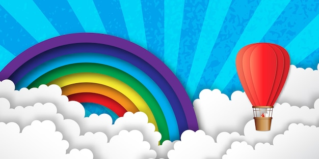 Origami kleurrijke heteluchtballonnen. regenboog, wolken.