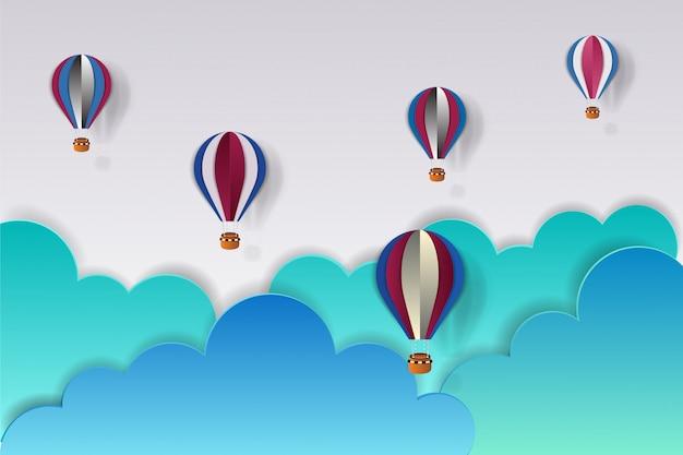 Origami maakte luchtballon in de vs-kleur en cloud.paper-kunststijl