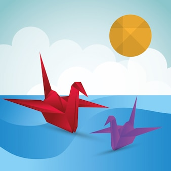 Origami ontwerp illustratie