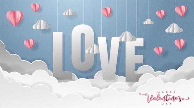 Origami papier kunst achtergrond met rood hart ballonnen en pluizige wolken.